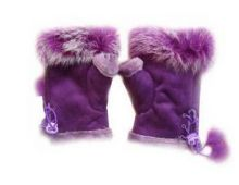 Перчатки без пальцев Митенки фиолетовые