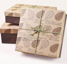 Коробка подарочная 20х20х9 см + крафт пакет