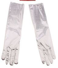 Карнавальные перчатки серебристый блеск 40 см