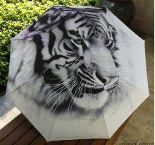 """Раскладной зонт с 3D принтом """"Белый тигр"""""""