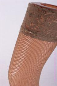 Чулки сетка загар с силиконом Lanswe