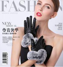 Теплые женские перчатки с мехом кролика
